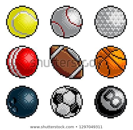 Pixel Art 8 Bit Video Arcade Game Sport Ball Icons Stock photo © Krisdog