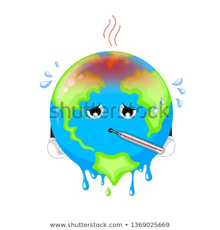 Global Warming Planet with Thermometer Poster Stock fotó © robuart