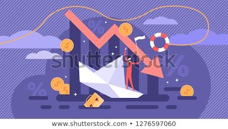 Bunalımlı iş adamı finansal kriz aşağı bakıyor düşen kırmızı Stok fotoğraf © ichiosea