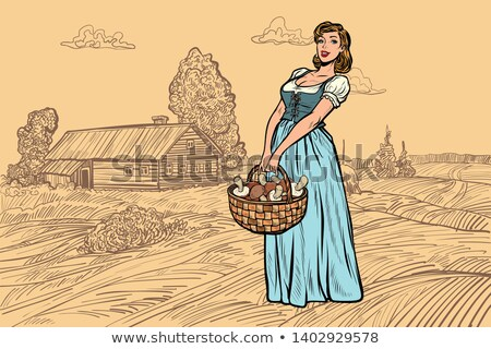 village woman with a basket of mushrooms. engraving effect Stock photo © studiostoks