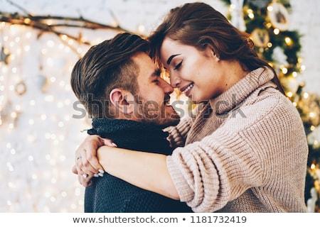 feliz · mulher · namorado · natal · retrato - foto stock © dolgachov
