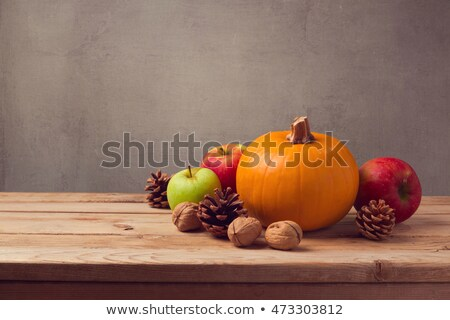 autumn backdrop with pumpkins and fruits stock photo © karandaev