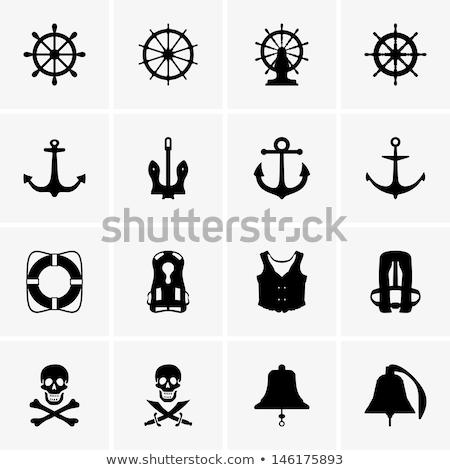 Vector silhouet grafische anker zwarte zee Stockfoto © VetraKori