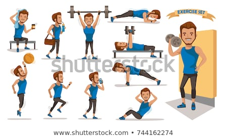 Masculina gimnasia atletas carácter ilustración cuerpo Foto stock © bluering