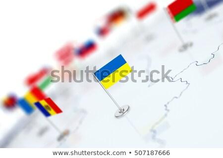Bandera ue Ucrania blanco aislado 3D Foto stock © ISerg