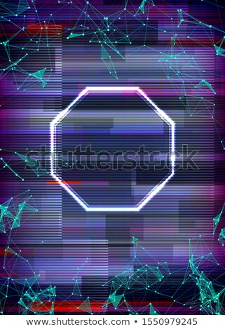 Glitch cyberpunk frame with technology error and neon shape Stock photo © SwillSkill