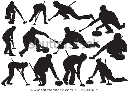 Curling Sports Game, Teamwork Man and Woman Vector Stock photo © robuart