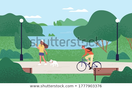 man walking with pet green park or forest vector stock photo © robuart
