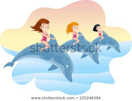 Fille dauphins image eau enfant lumière Photo stock © clairev