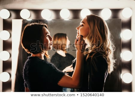 Fashion and beauty. Creative lip makeup. Artistic make-up Stock photo © serdechny