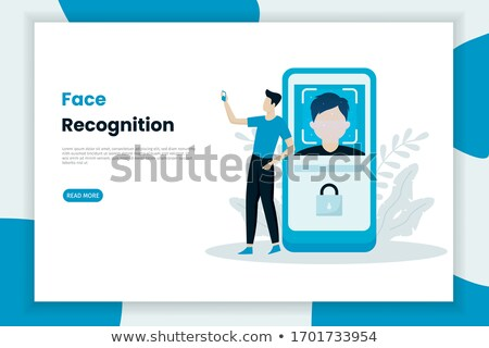 Visage identification bannière téléphone portable personne Photo stock © Genestro