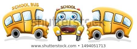 школьный автобус смешные Cartoon вектора счастливым Снова в школу Сток-фото © frimufilms