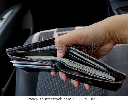 черный · кожа · бумажник · долларов - Сток-фото © andreypopov