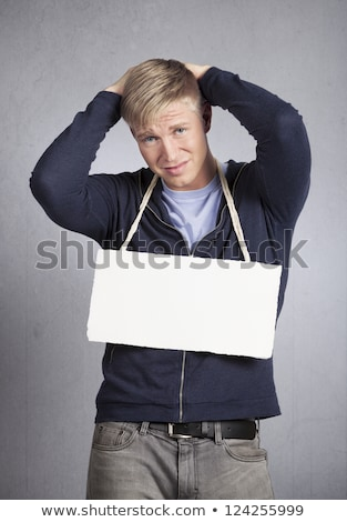 Csalódott szomorú férfi bemutat hírek nyomorúságos Stock fotó © lichtmeister