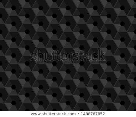 Hexagonal vector black embossed pattern. Plastic hexagon grid dark background. Hexagon cell Stock photo © Iaroslava