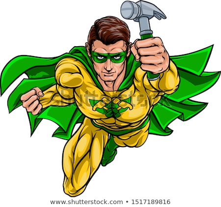 Super Carpenter Handyman Superhero Holding Hammer Stock photo © Krisdog