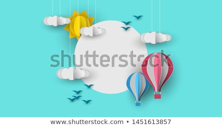Paper hot air balloon white copy space background Stock photo © cienpies