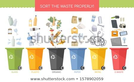sort the waste properly   flat design style illustration stock photo © decorwithme