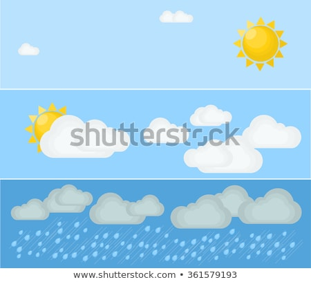 Clouds In Different Weather Set Color Vector Stock photo © pikepicture