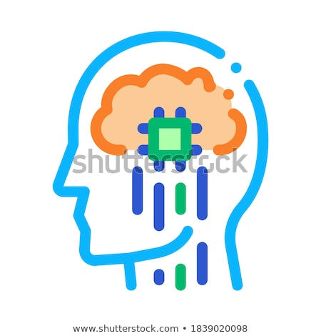 Stock photo: Head Nerve Impulses Biohacking Icon Vector Illustration