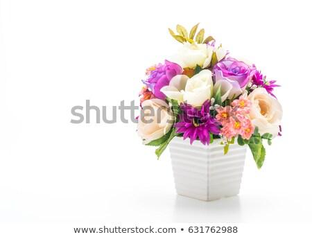 Bukiet kolorowy róż Wazon różowy salon Zdjęcia stock © ivonnewierink