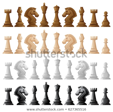 White wooden chess piece king, vector illustration. stock photo © kup1984