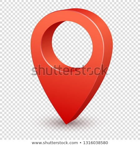 3d map pointer. Red navigator symbol isolated on transparent background. Vector illustration Stock photo © olehsvetiukha