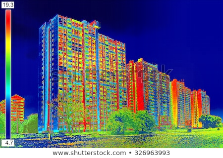 Thermal image Heat Loss at the Residential building Stock photo © smuki