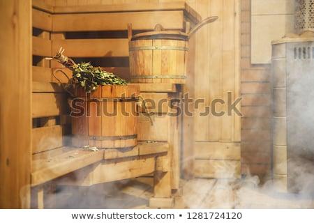 Sauna iç ağaç tıp taş Stok fotoğraf © nomadsoul1