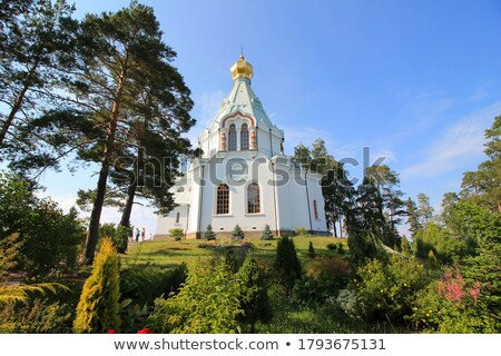 Kapelle Ufer Russland Insel Baum Wald Stock foto © borisb17