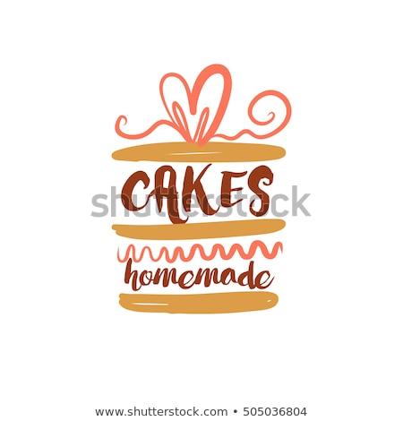 Gebak winkel vers smakelijk taart poster Stockfoto © pikepicture