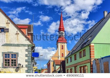 Utca Észtország hagyományos fából készült házak épület Stock fotó © borisb17