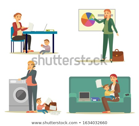 Pregnant Businesswoman, Working and Housekeeping Stock photo © robuart