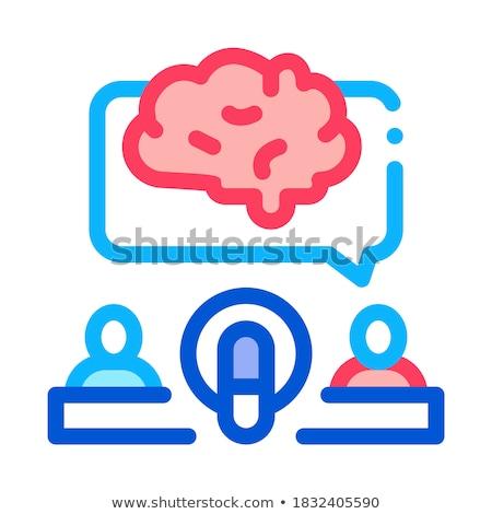 Emberi mikrofon agy ikon skicc illusztráció Stock fotó © pikepicture