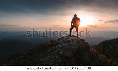 Adam ayakta üst uçurum seyahat özgürlük Stok fotoğraf © olira