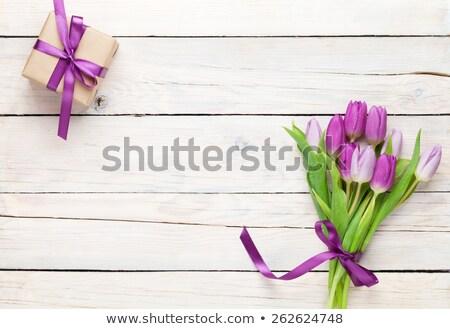 Różowy tulipany tulipan kwiaty bukiet kartkę z życzeniami Zdjęcia stock © karandaev