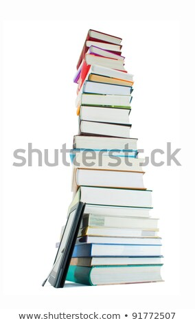 Tall stack of books and e-book reader on the white background Stock photo © AndreyKr