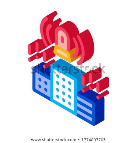 Alarm şehir kasaba izometrik ikon vektör Stok fotoğraf © pikepicture