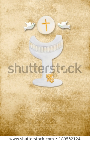 first communion card vertical parchment chalice stock photo © marimorena
