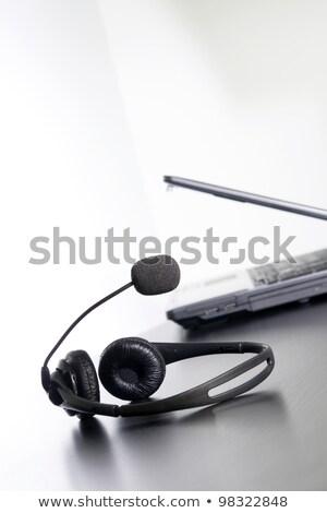 ordenador · auricular · mesa · nada · moderna · auriculares - foto stock © justinb