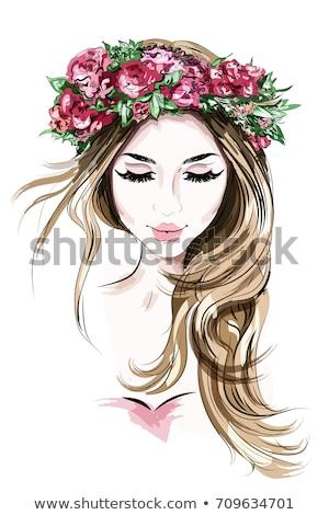 szépség · női · arc · piros · ajkak · vektor · portré · gyönyörű · nő - stock fotó © isveta
