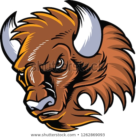 Buffalo Bison Mascot Head Cartoon Stock photo © chromaco