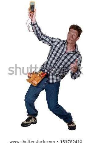 Villanyszerelő elektromos feszültség rázkódás férfi háttér munkás Stock fotó © photography33