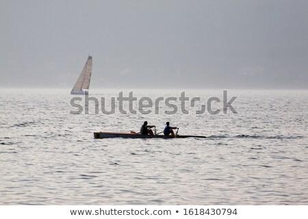 2 ヨット 人 ボード 日没 湖 ストックフォト © Aliftin