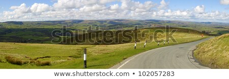 Panoramic view narrow road Welsh hills from the Mynydd Epynt, Wales UK. Stock photo © latent