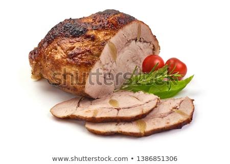 Picante cerdo albahaca primer plano blanco alimentos Foto stock © zhekos