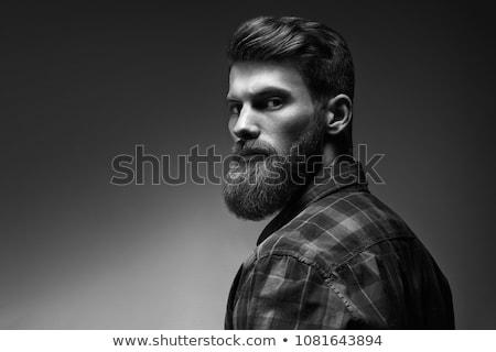 yakışıklı · adam · kahverengi · gömlek · anız · bakıyor - stok fotoğraf © magann