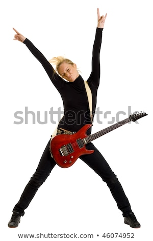 passionate woman guitarist jumps in the air stock photo © feedough