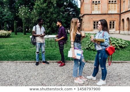 2 女の子 立って 白 女性 一緒に ストックフォト © eriklam