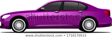 Foto stock: Purple Car Sedan On The Road Vector Illustration